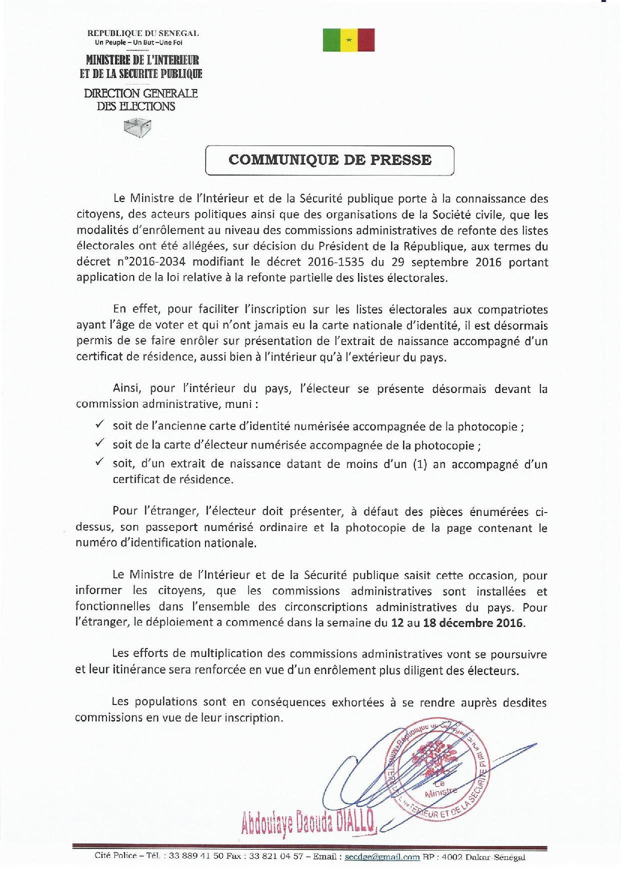 Facilitation des inscriptions sur les listes électorales : les précisions du ministère de l'Intérieur (communiqué)
