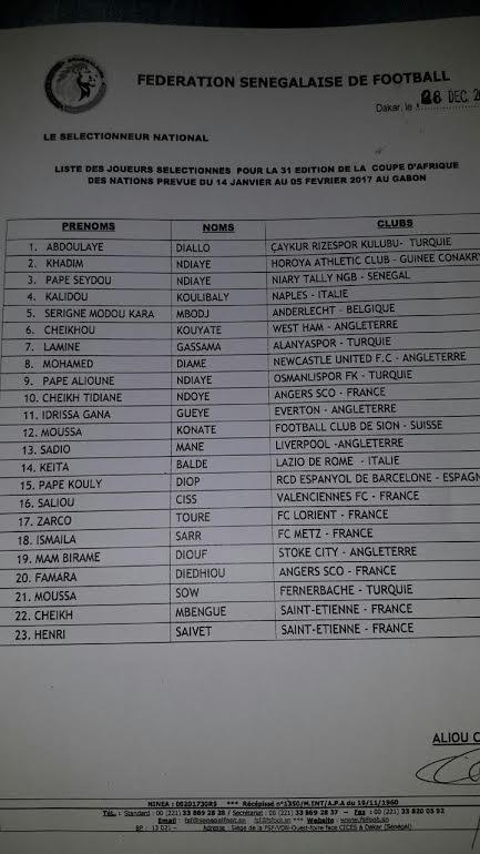 CAN 2017 : Aliou Cissé a publié sa liste de 23