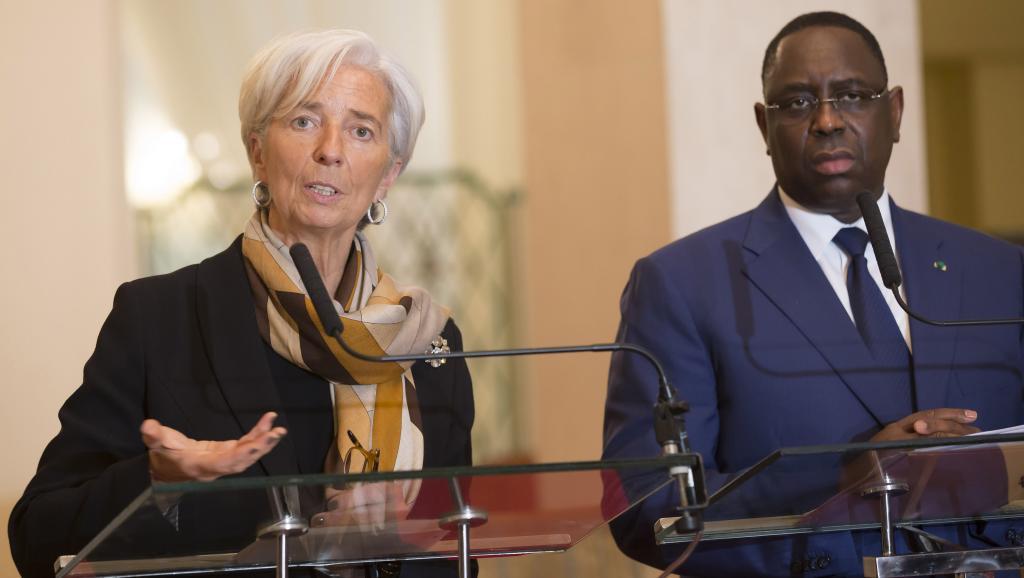 Christine Lagarde, la directrice générale du Fonds monétaire international en compagnie de Macky sall, le président de la république du Sénégal.
