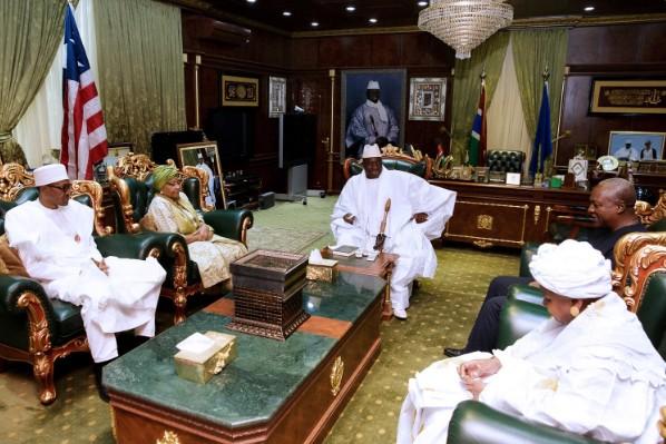 Yaya Jammeh et la mission de la CEDEAO, hier au Palais présidentiel