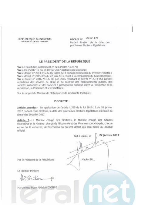 Décret présidentiel fixant la date des élections législatives de 2017