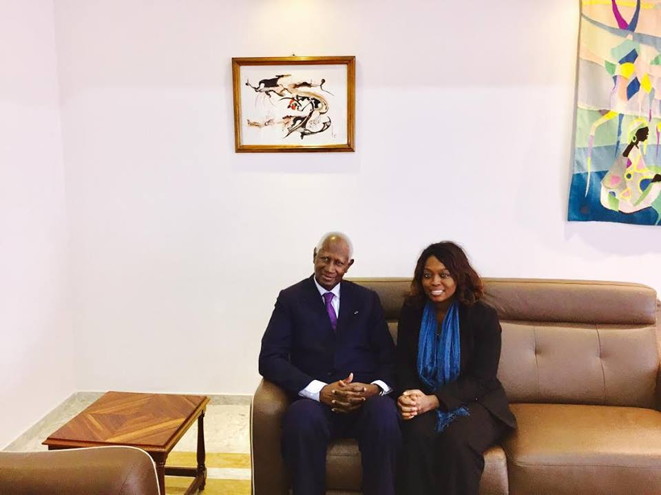 Amy Sarr Fall et l'ancien Président de la République du Sénégal, Abdou Diouf
