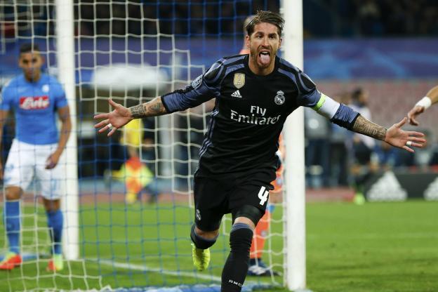 Sergio Ramos a signé un doublé à Naples pour le Real. (Reuters)