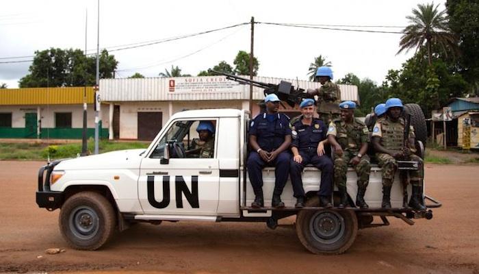 Des casques bleus de l'ONU en mission en Centrafrique