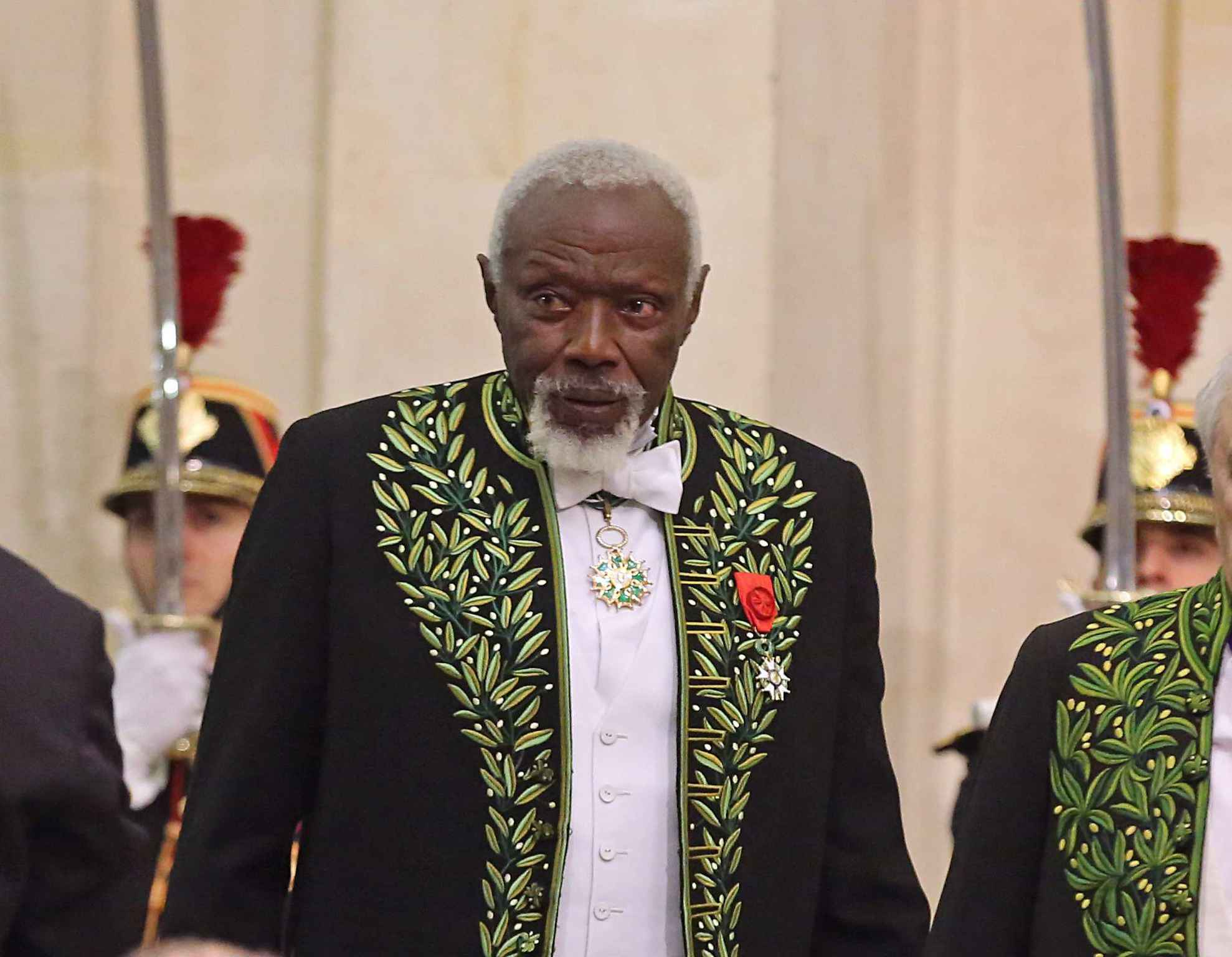 Ousmane Sow lors de la cérémonie de son entrée à l'académie des beau arts à Paris le 11 décembre 2013.
