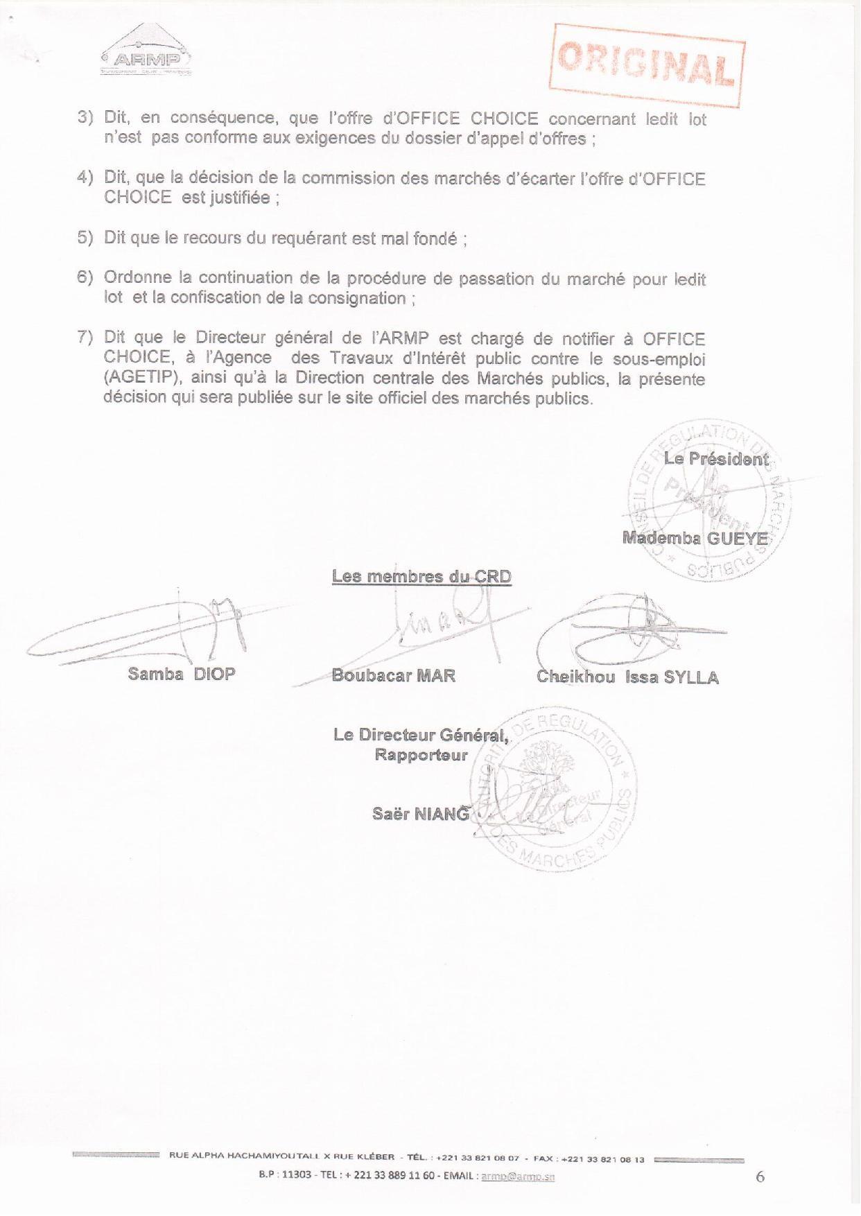 Exclusif : AGETIP Office Choice,  L'ARMP a tranché l'appel d'offres relatif à l'équipement de 17 collèges de Dakar