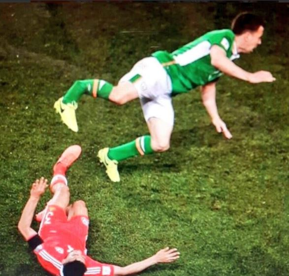 Photo-La terrible blessure de Seamus Coleman face au Pays de Galles, hier soir...