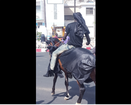 Photos : un cheval et son cavalier à la manifestation de Y'en à marre
