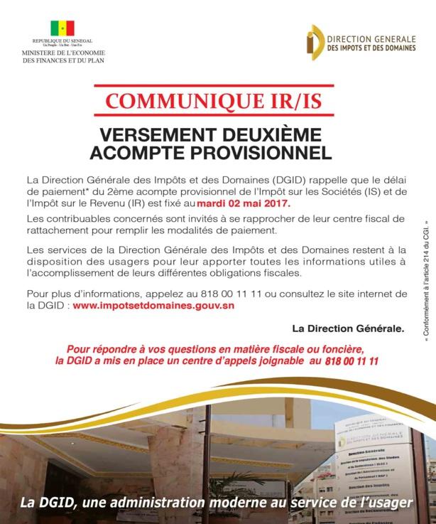 VERSEMENT DEUXIEME ACOMPTE PREVISIONNEL ( Sénégal )
