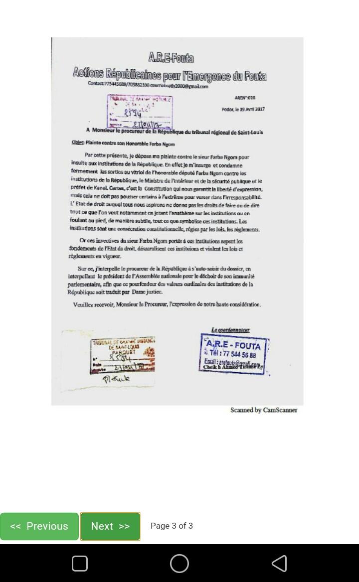 Lettre ouverte à Monsieur le Procureur du Tribunal de Grande Instance de Saint-Louis (relative à la plainte contre Farba Ngom)