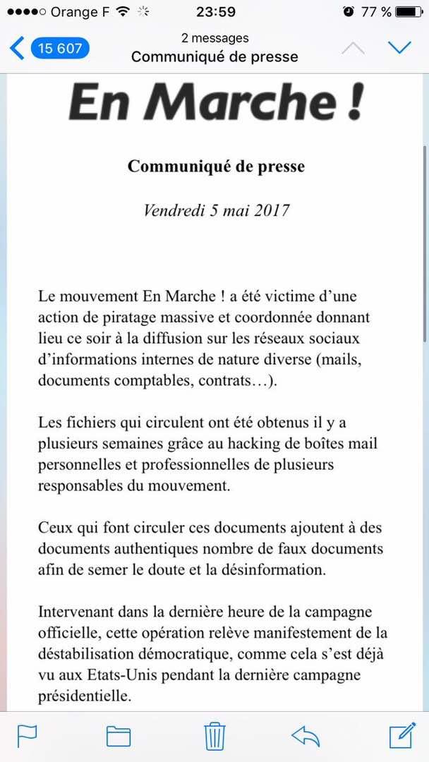 Exclusif Leral : Wikileaks publie des milliers de documents sur Emmanuel Macron ( Documents )