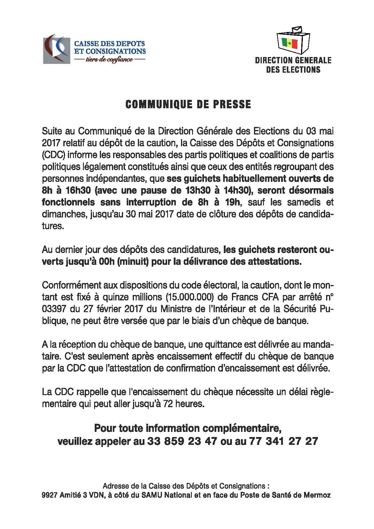 Communiqué Caisse et Dépôt et Consignations (CDC)