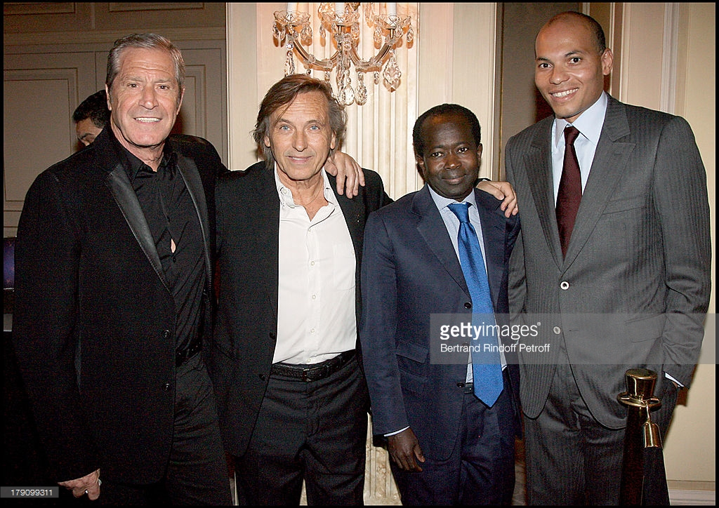 Jean Claude Darmon, Alexandre Arcady, Diagna Ndiaye et Karim Wade lors de la Premiere Party For 'Africa 24'. (Photo par Bertrand Rndoff Petroff/Getty Images)