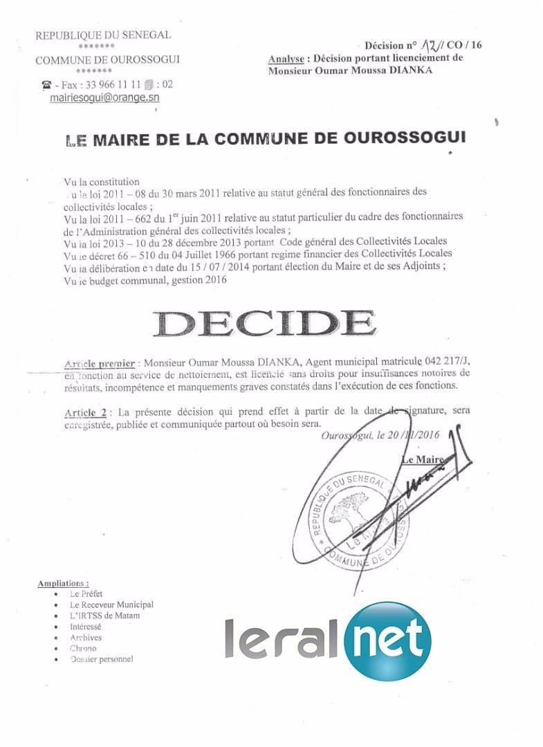 Enquête - Moussa Bocar Thiam, un «hors la loi » : Le maire de Ourossogui vire un agent et refuse de répondre à la convocation de l'Inspection du travail