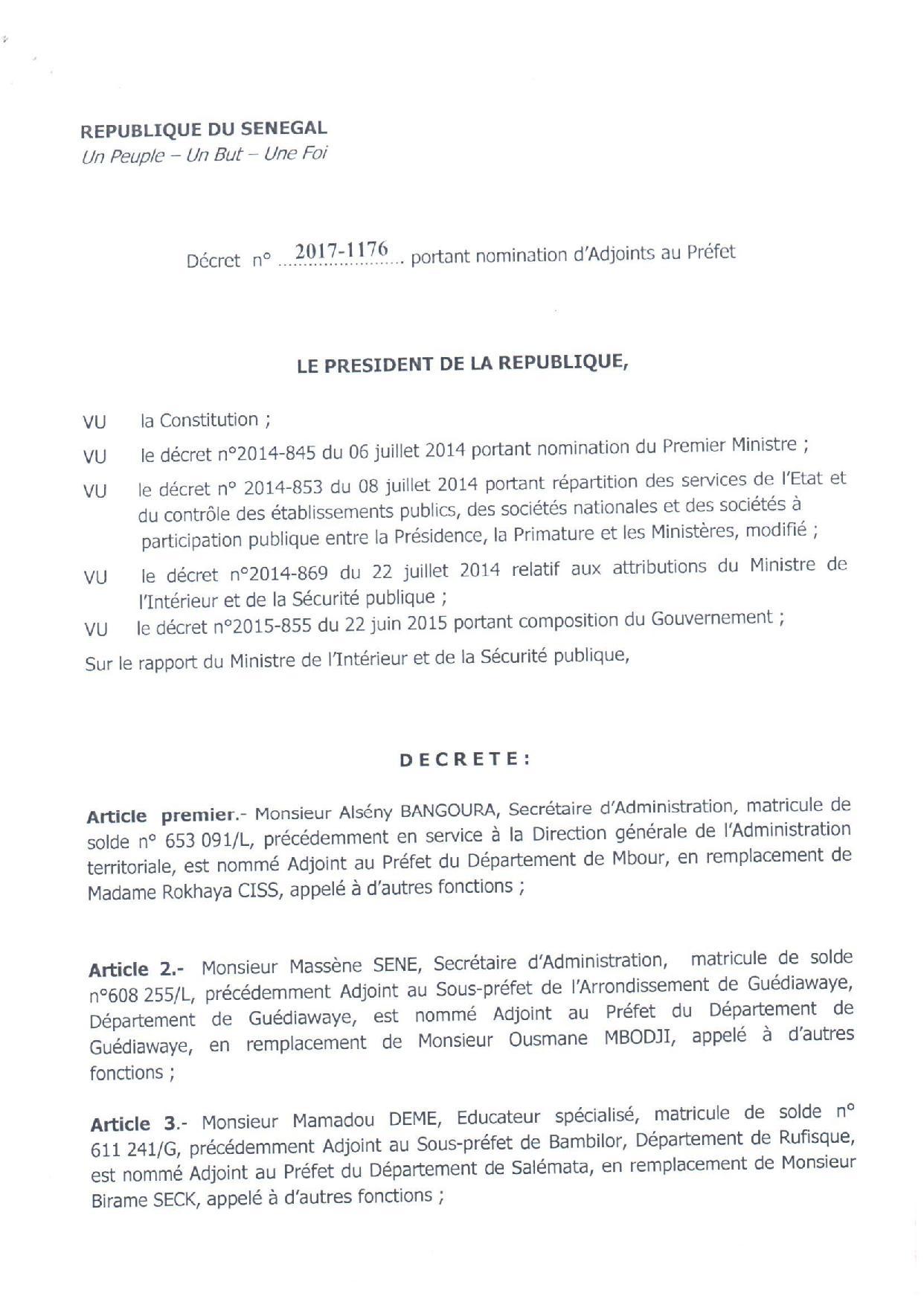 Décret n° 2017-1176 portant nomination d'Adjoints au préfet