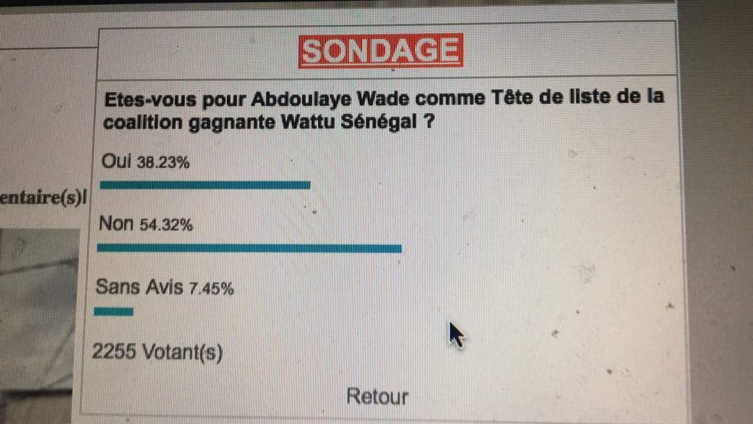 Législatives 2017 : Sondage sur les têtes de liste, Abdoulaye Wade perd la cote