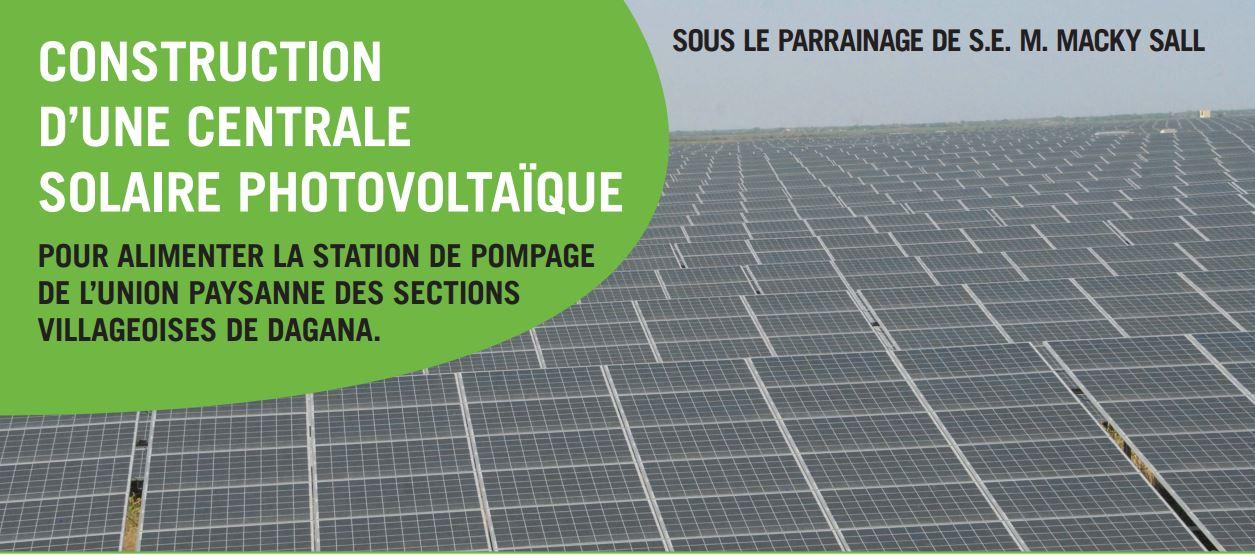 Dagana: Une centrale solaire photovoltaïque pour alimenter la station pompage de l'Union paysanne des sections villageoises
