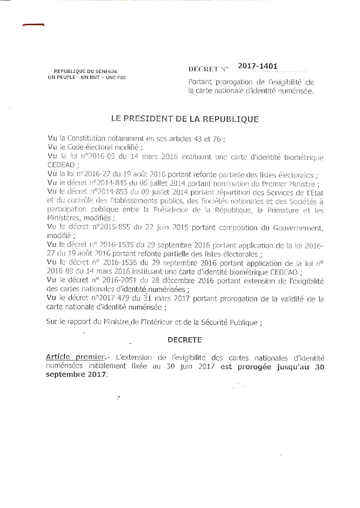 Le délai d'exigibilité des anciennes cartes d'identité numérisées, prorogé jusqu'au 30 septembre 2017 (Décret)