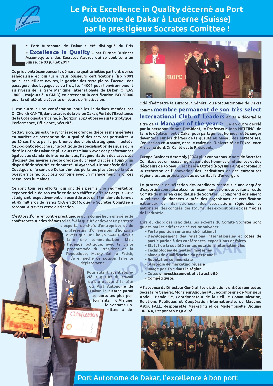 Le prix de l'Excellence in Quality décerné au Port Autonome de Dakar à Lucerne par le prestigieux Socrates Commitee