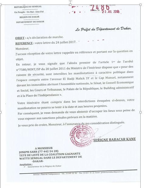 """Voici la lettre du Préfet de Dakar, """"interdisant"""" la marche de Me Wade"""