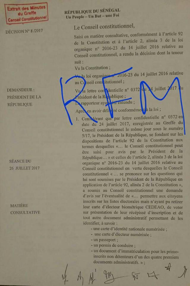 Voici la décision du Conseil constitutionnel sur la proposition de Macky Sall