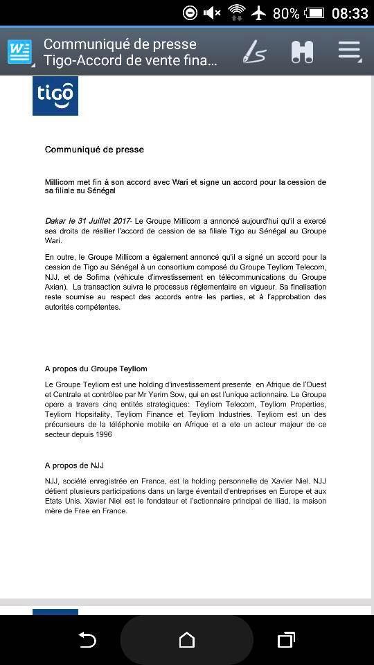Millicom vient d'annuler de rachat de sa filiale sénégalaise Tigo par le groupe Wari (document)