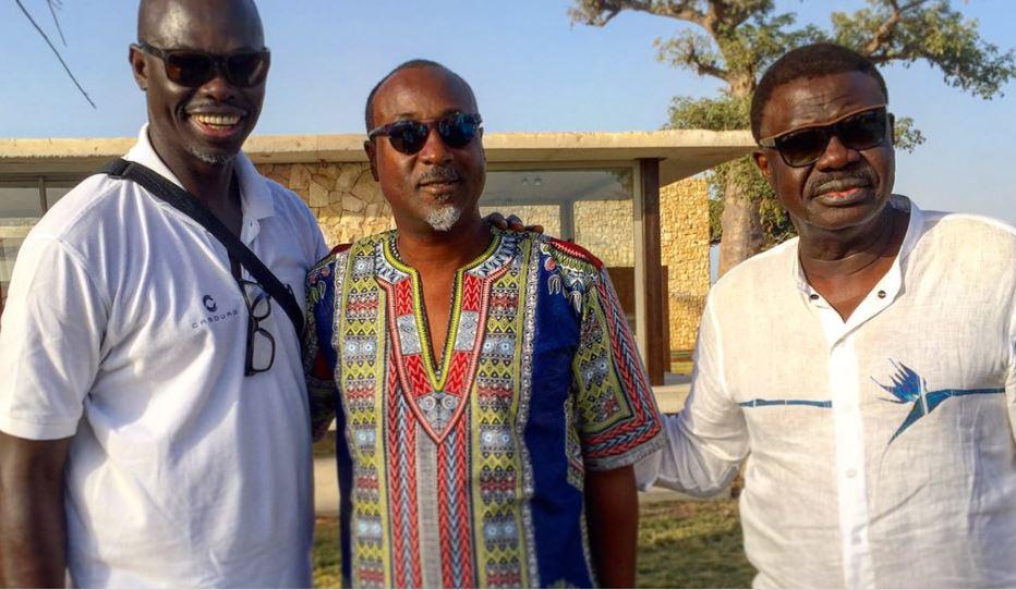 Yérim Sow entre les journalistes Sylvère-Henry Cissé et Pape Diouf.