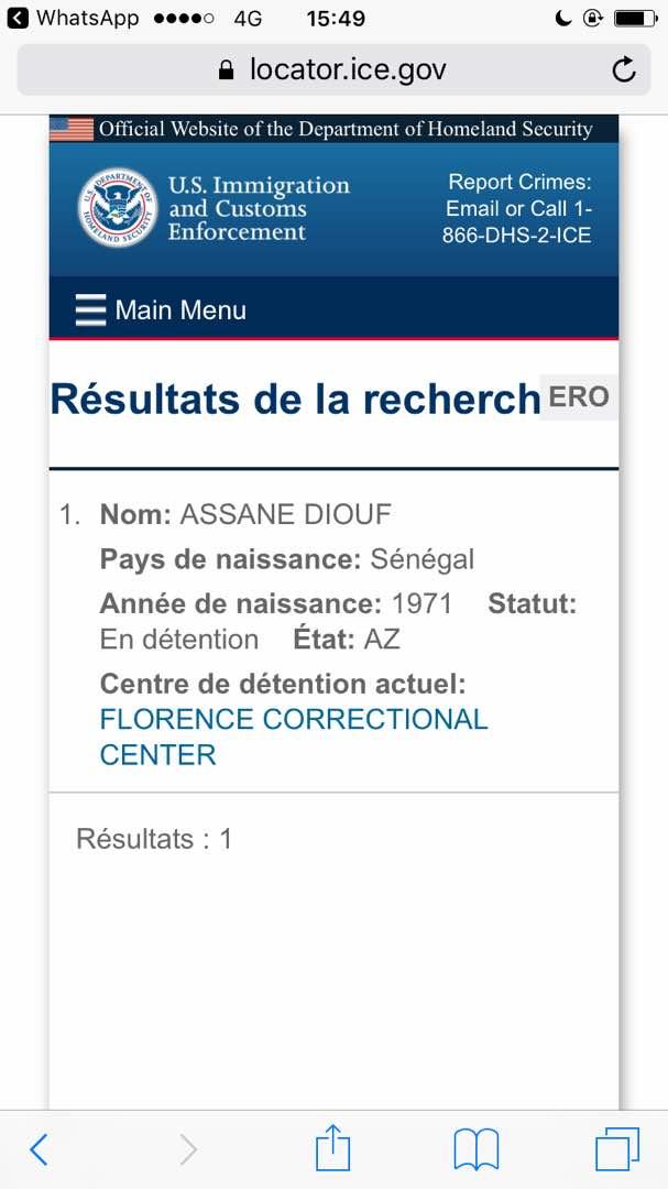 Assane Diouf localisé au Centre correctionnel de Florence, en Arizona