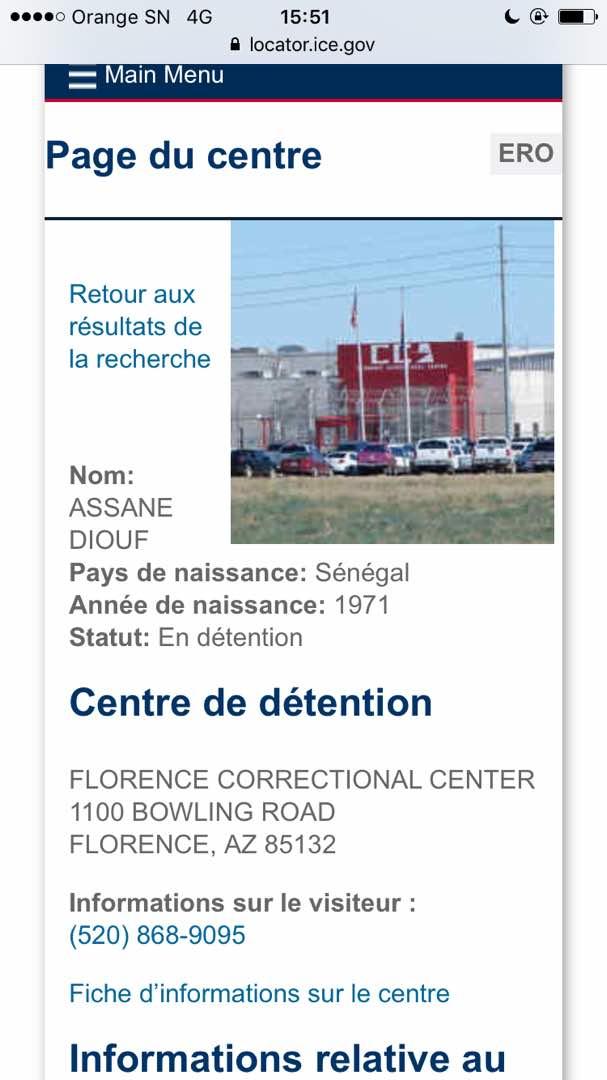 Assane Diouf détenu au Centre correctionnel de Florence en Arizona