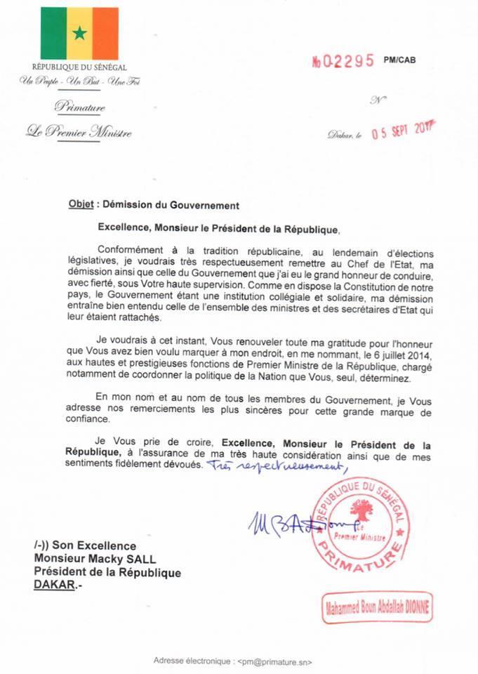 La lettre de démission du Premier ministre sortant (document)