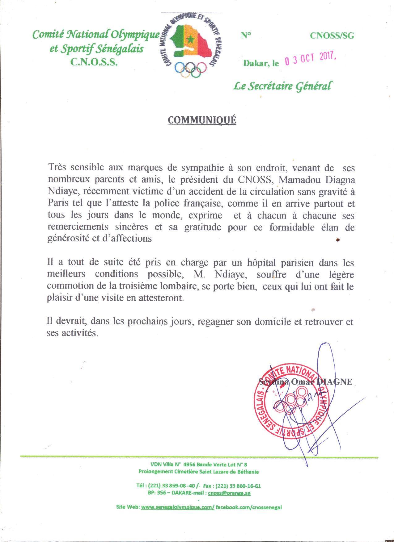 Accident à Paris :  Diagna Ndiaye, souffrant d'une légère commotion de la troisième lombaire, va mieux et remercie les Sénégalais pour leur compassion