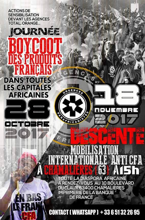 Boycott des produits français et rassemblement à Chamalières: Kémi Séba et Cie, fixent 2 dates pour la «Révolution anti-CFA»