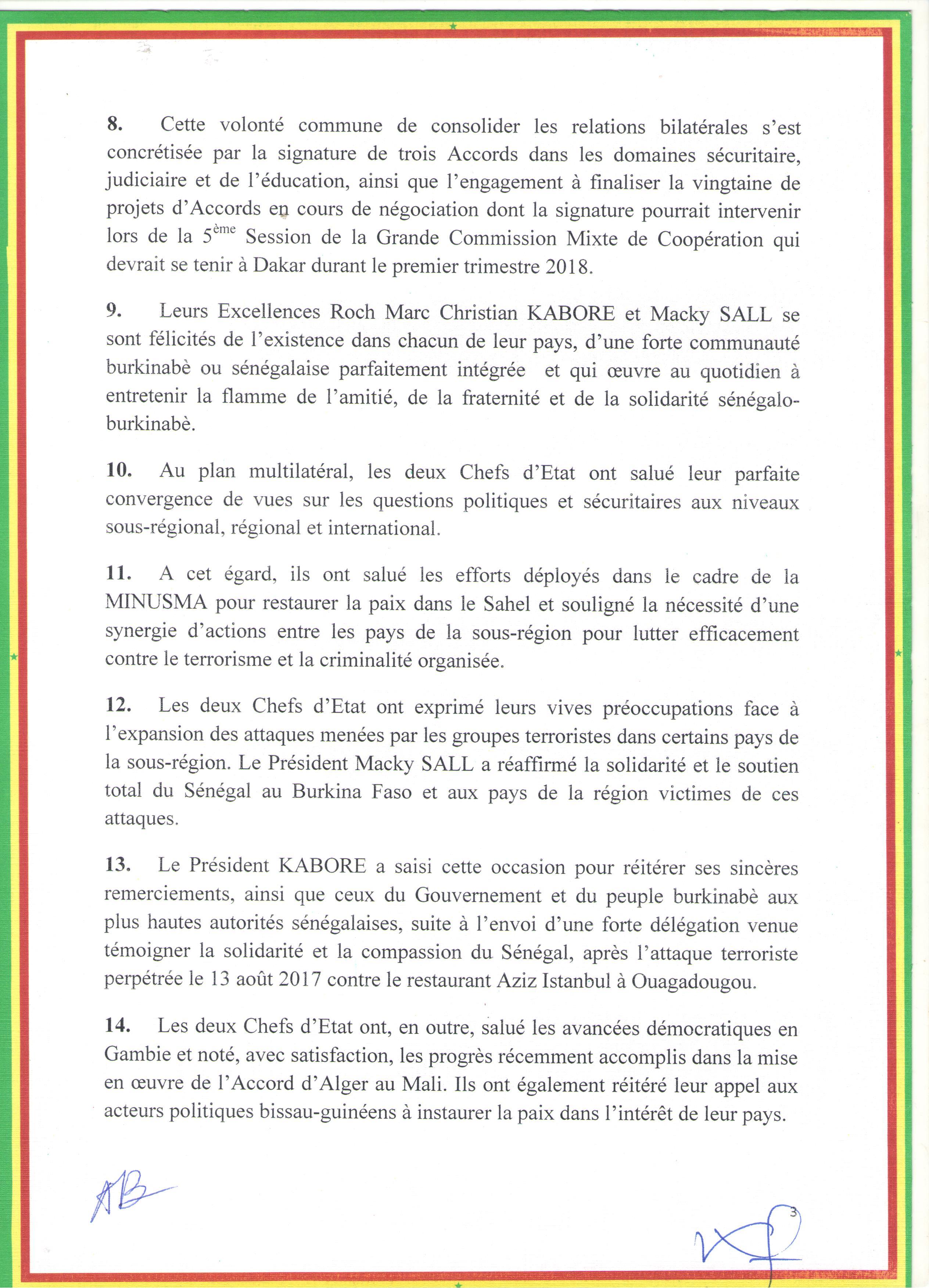 Le communiqué conjoint à l'issue de la visite officielle au Sénégal de SEM Roch Marc Christian KABORE au Sénégal