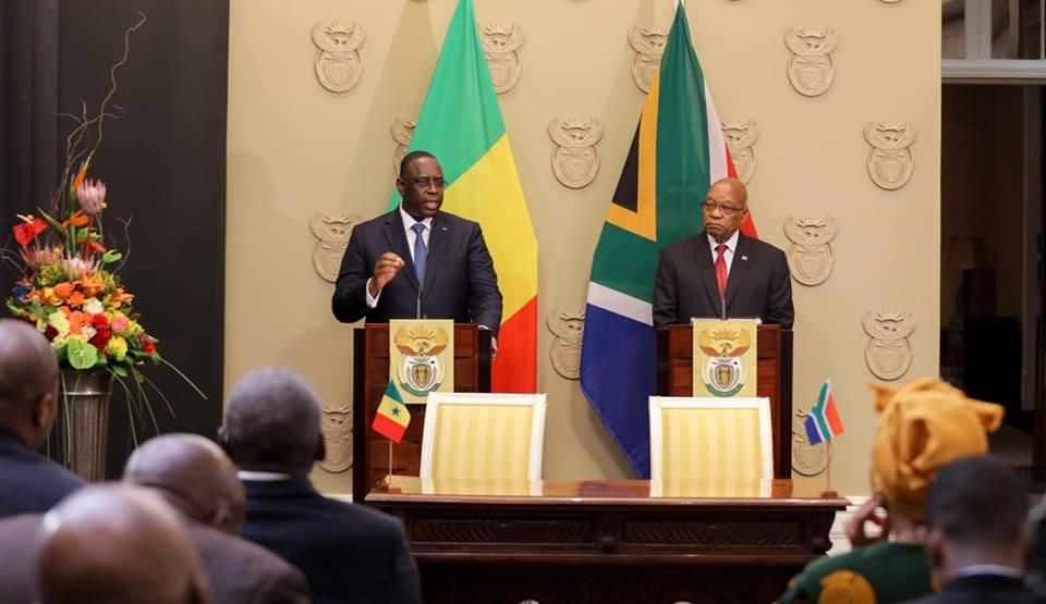 Communiqué conjoint à l'occasion de la visite d'État en Afrique du Sud de son Excellence Macky Sall, du 23  au 25 octobre 2017