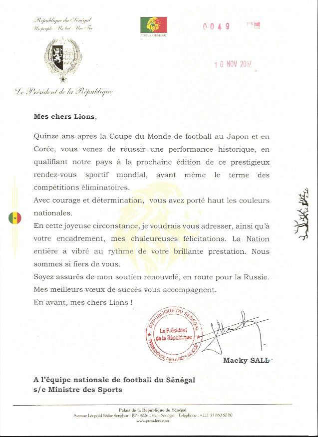 """Coupe du monde : Le Président de la République Macky Sall félicite les """"Lions"""""""