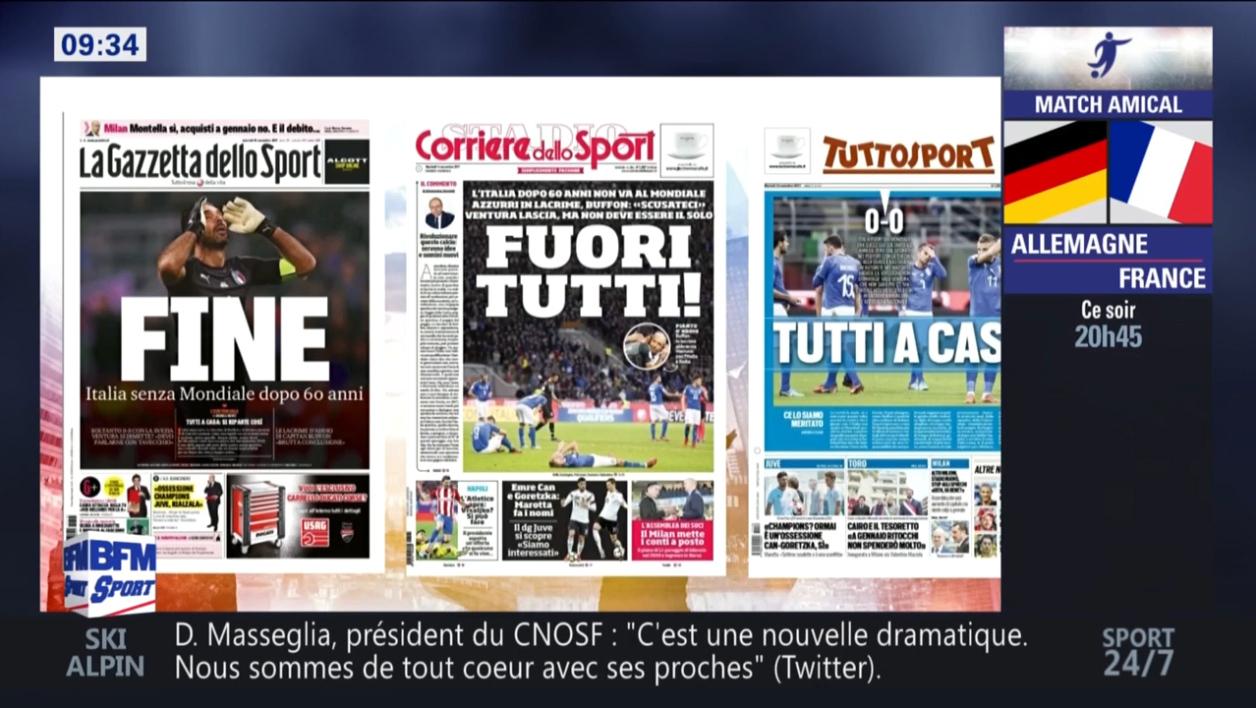 """Mondial 2018: """"Tout le monde dehors"""", """"la honte de notre football"""", la presse italienne fracasse la Squadra"""
