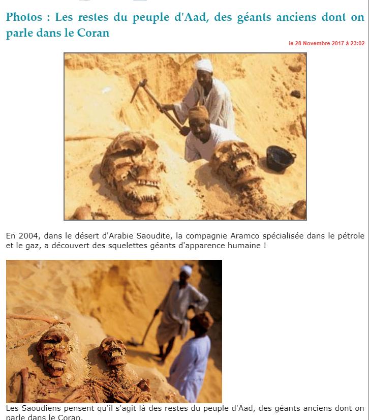 Des squelettes géants découverts en Arabie Saoudite ? Faux, des photomontages
