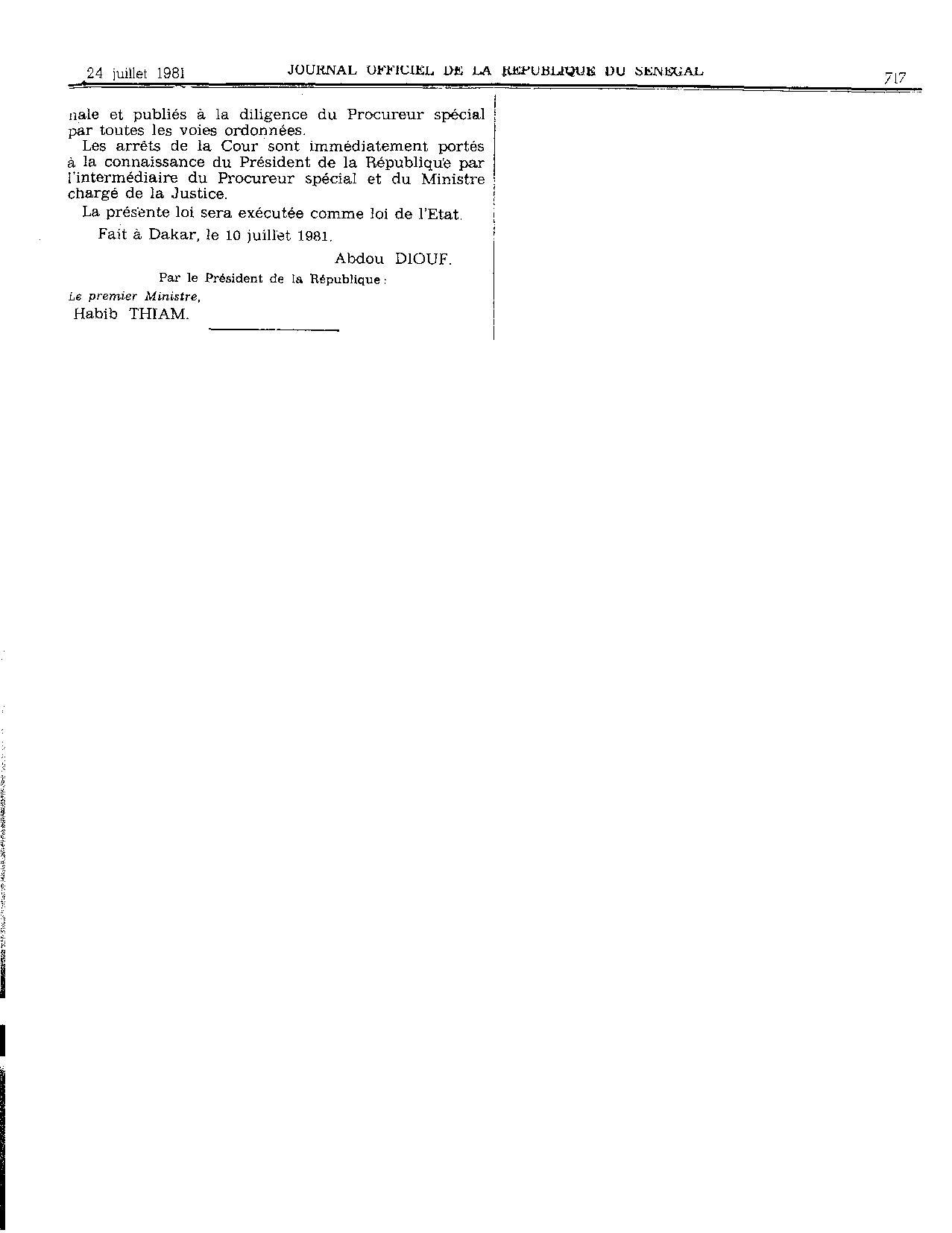 Lois n° 81-53 et n° 81-54 du 10 juillet 1981 relatives à la répression de l'enrichissement illicite : Les motivations d'Abdou Diouf  en 1981?
