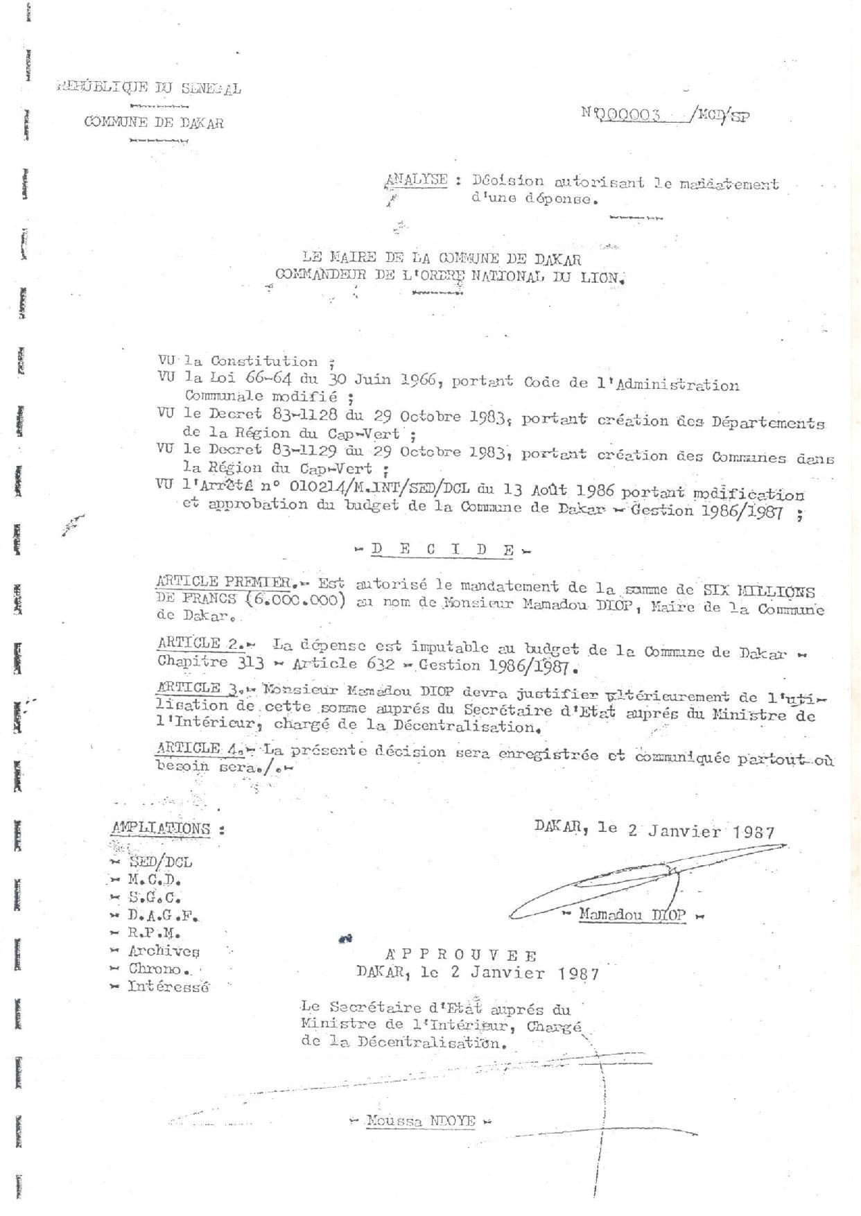 Caisse d'avance de la Mairie de Dakar - D'Abdou Diouf à Macky Sall : conditions de création, histoire, motivations et objectifs