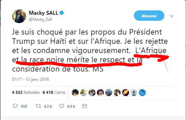 Réponse à Trump: la grosse faute du Président Macky Sall