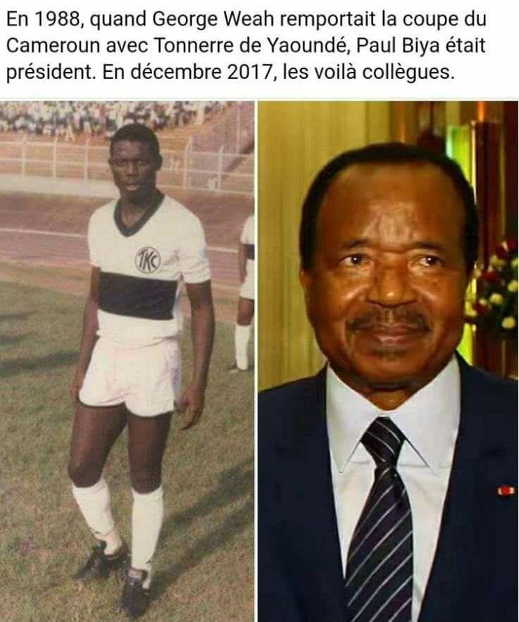 L'image des Présidents Biya et Weah qui  amuse la toile