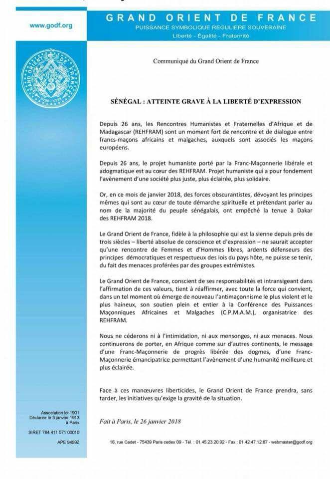Annulation des Rehfram 2018 : La lettre incendiaire du Grand Orient de France contre le Sénégal