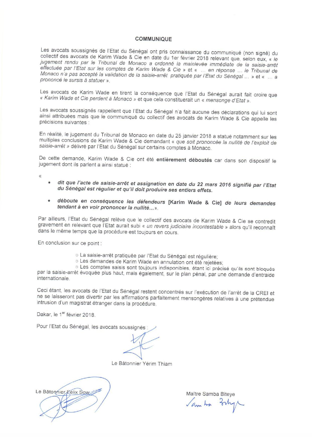 « Karim Wade et Cie ont été entièrement déboutés par le Tribunal de Monaco » persistent et signent les avocats de l'Etat du Sénégal