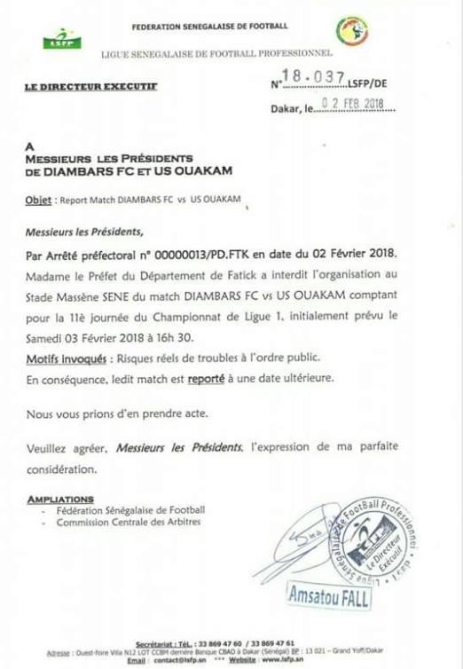 Crainte de troubles à l'ordre public : Diambars-Uso interdit par Madame le Préfet de Fatick