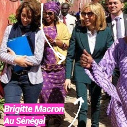 PHOTOS. Les secrets du costume vert de Brigitte Macron au Sénégal