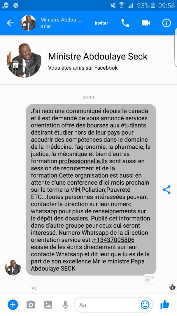 Alerte : un faux message du ministre Abdoulaye Seck circule sur Facebook