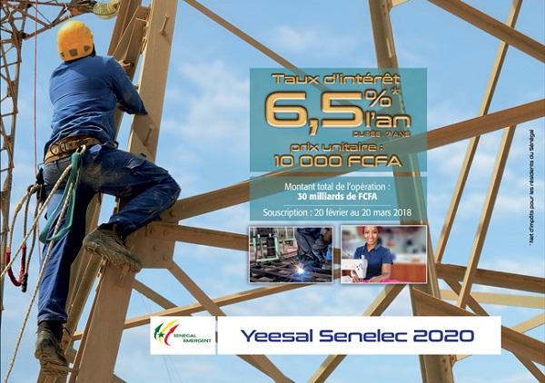 """""""Plan Yeesal Senelec 2020"""" : La Sénélec veut mobiliser 30 milliards de FCfa"""