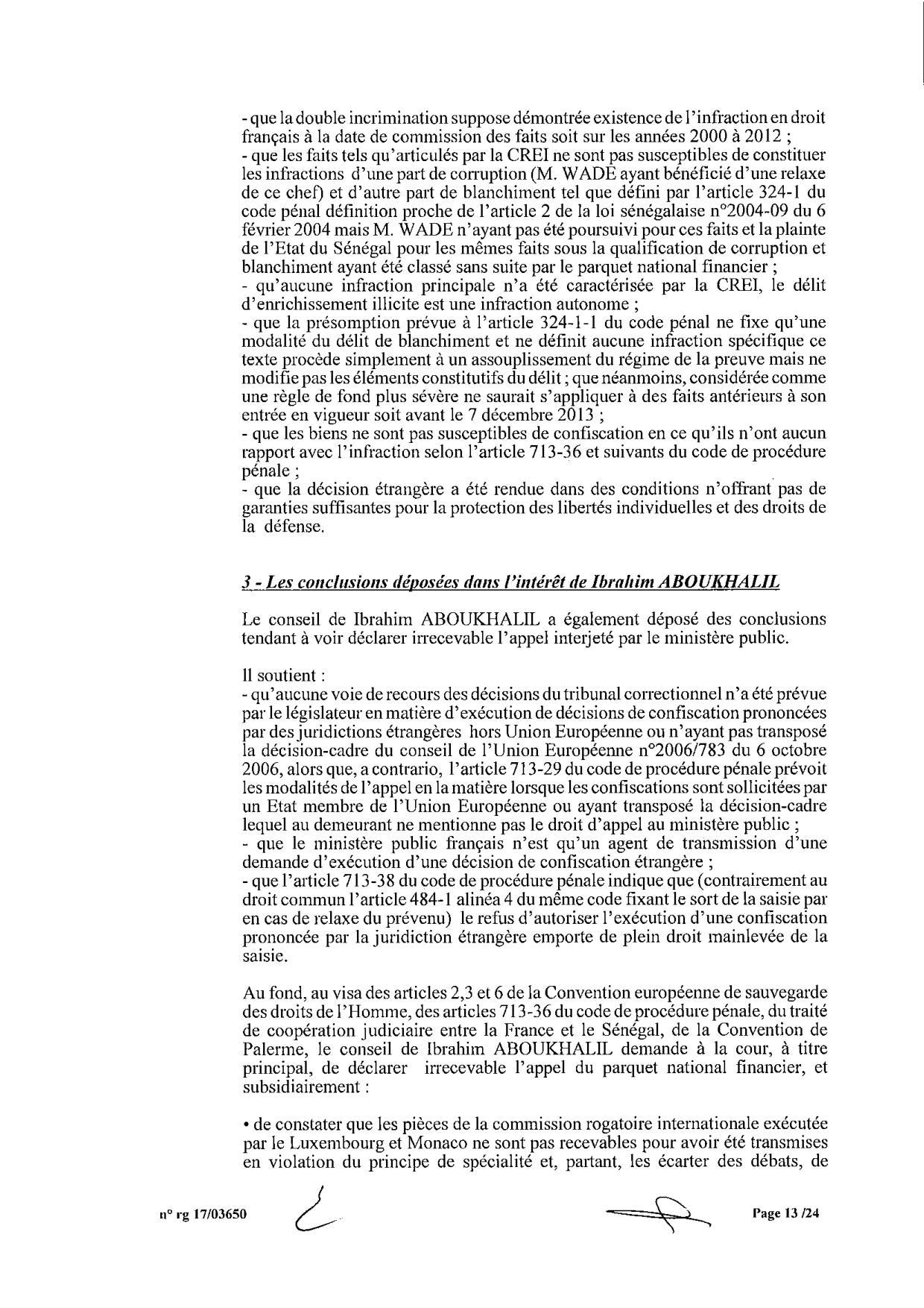 EXCLUSIF Karim Wade : l'intégralité de la décision Cour d'Appel de Paris