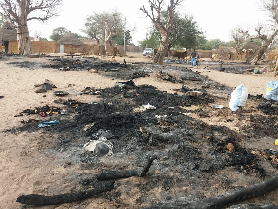 Violent incendie à Louga: 11 cases réduites en cendres