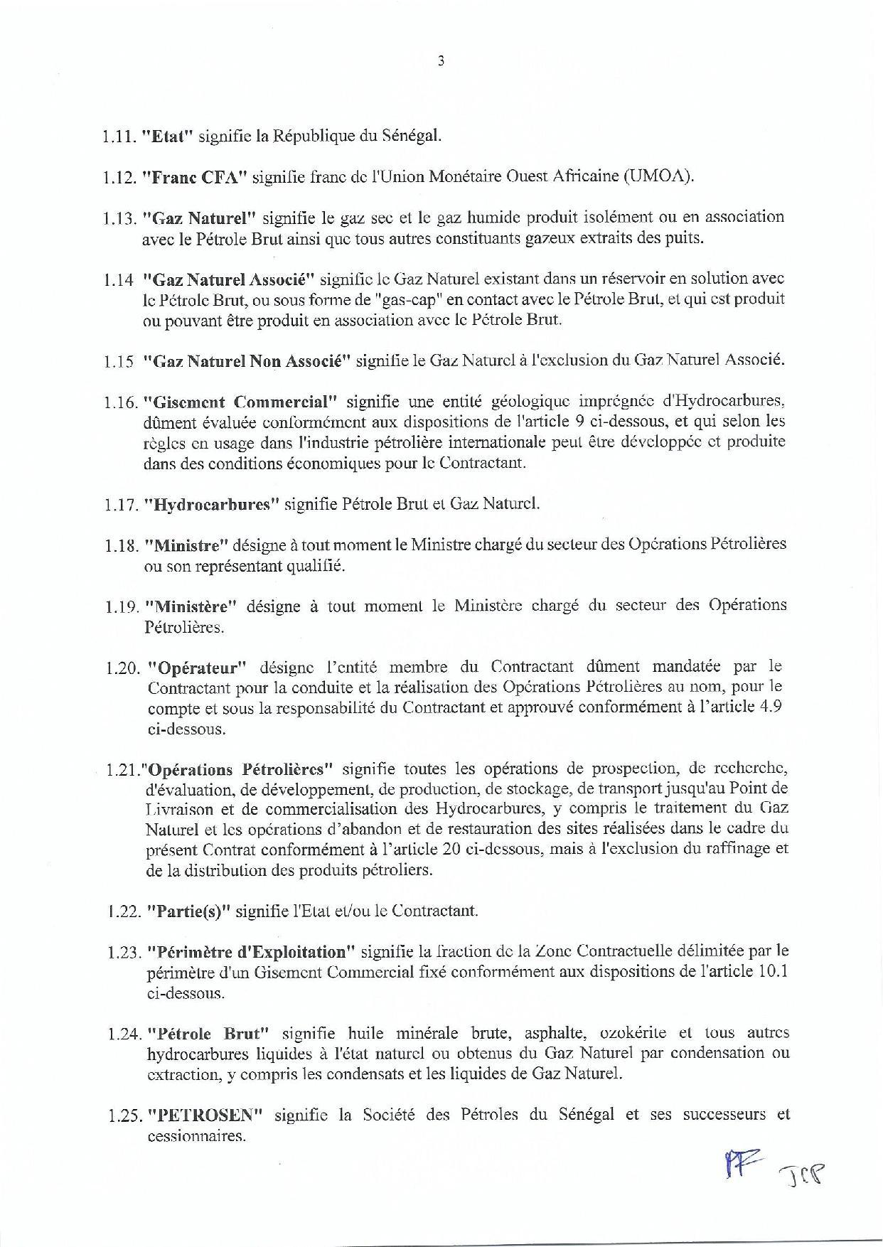 """Contrat de recherche et de partage de production d'hydrocarbure """" Rufisque Offshore"""" entre l'Etat du Sénégal et Total (Part 1)"""